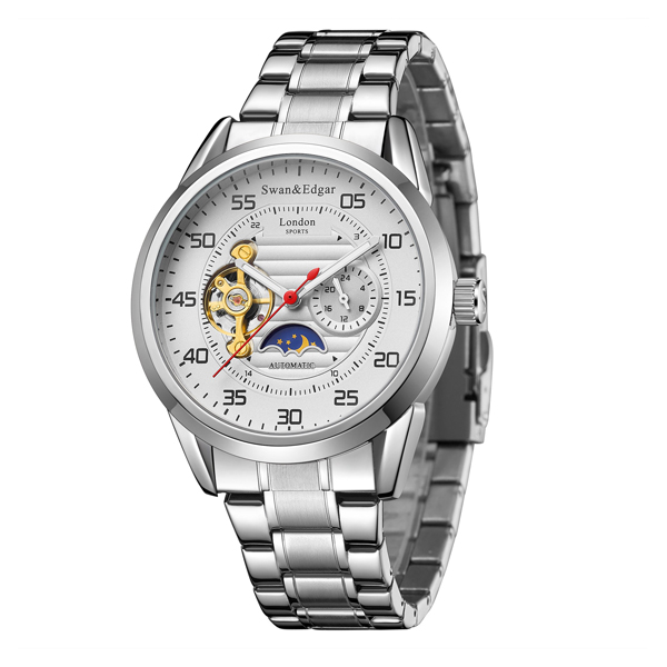 Swan & Edgar Gent's Rally Timer Automatic Watch with Stainless Steel Bracelet Silver/ White