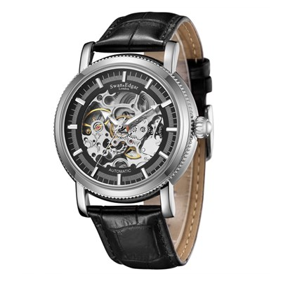 Swan & Edgar Gent's Balmoral Automatic Skeleton Watch with Genuine Leather Strap & Pen