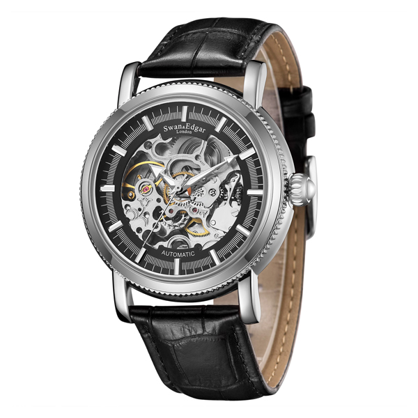 Swan & Edgar Gent's Balmoral Automatic Skeleton Watch with Genuine Leather Strap Black/Silver