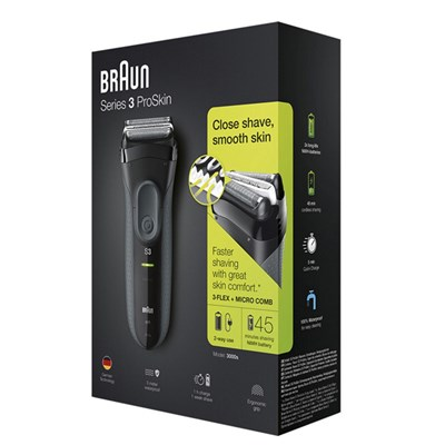Braun Series 3 ProSkin 3000s Electric Shaver Rechargeable and Cordless Electric Razor for Men