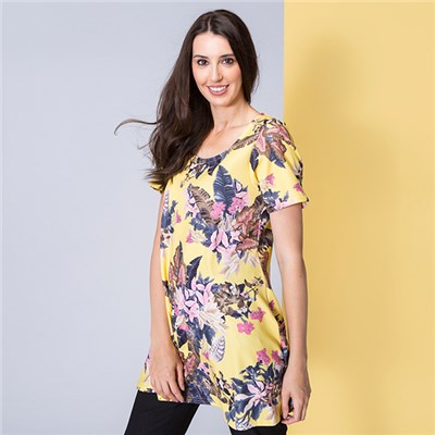 Nouvelle Short Sleeve Print Crepe Swing Tunic