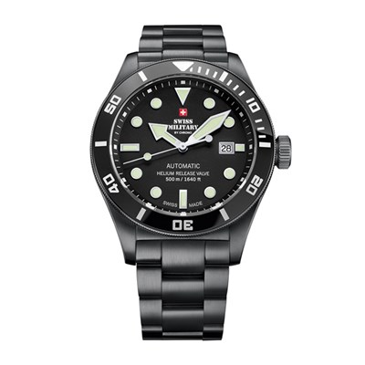 Swiss Military By Chrono Gent's PVD Plated Ltd Edt ETA 2824 Movement Divers Watch with Stainless Steel Bracelet