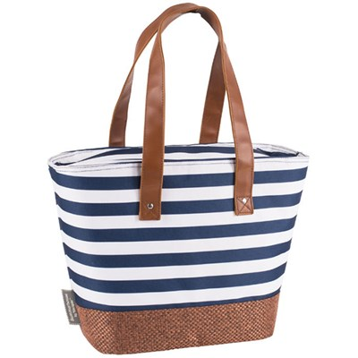 Navy Insulated Shoulder Tote with Hessian Style Base