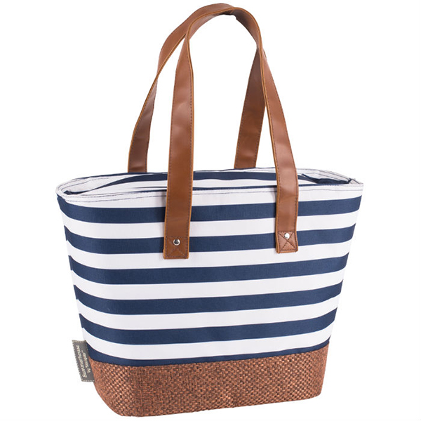 Navy Insulated Shoulder Tote with Hessian Style Base No Colour