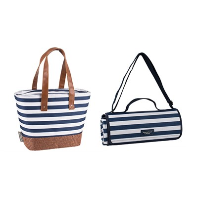 Insulated Shoulder Tote & Extra Large Picnic Blanket Bundle