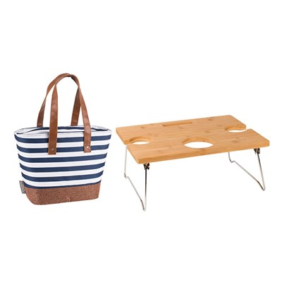 Insulated Shoulder Tote & Foldaway Picnic Table Bundle