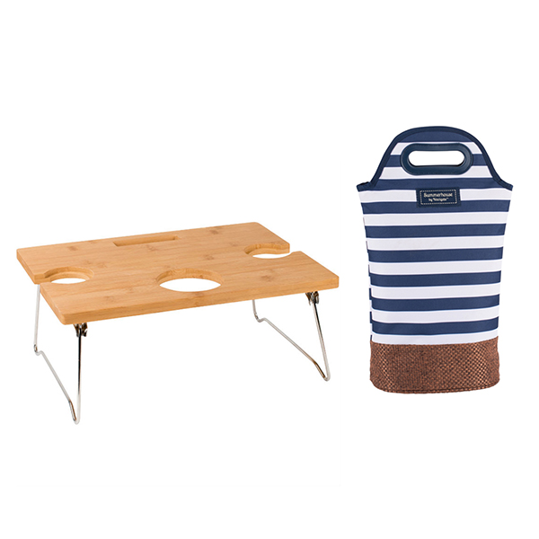 Foldaway Picnic Table & Insulated Bottle Carrier Bundle No Colour