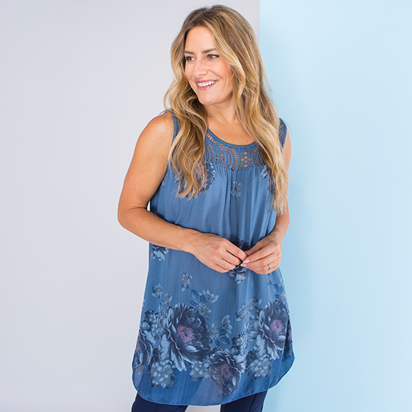 Sugar Crisp Crochet Neckline Floral Top Denim