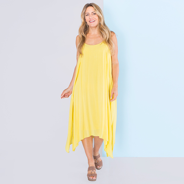 Sugar Crisp Dip Hem Dress Yellow