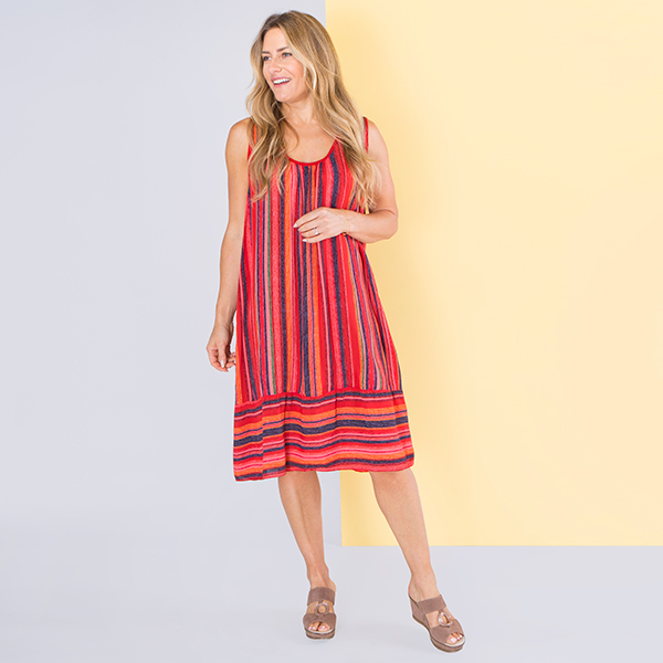 Sugar Crisp Striped Dress with Crochet Back Detail Red