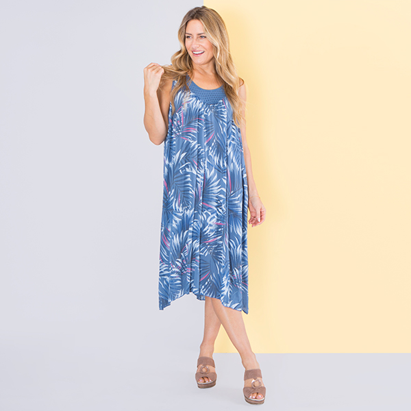 Sugar Crisp Palm Print Dress Denim