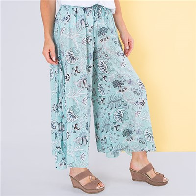Sugar Crisp Print Wide Leg Trouser