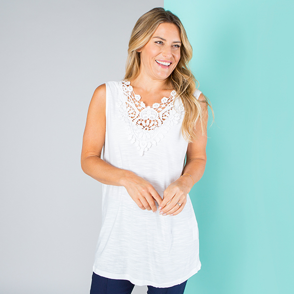 Crochet Trim Detail Vest White