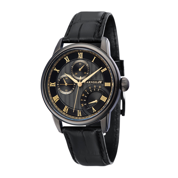 Thomas Earnshaw Gent's Longitude IP Multi Function retrograde Watch with Genuine Leather Strap Black