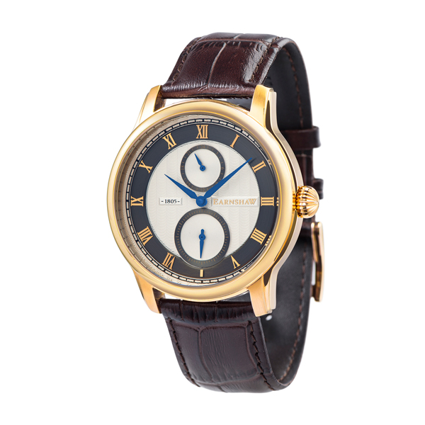 Thomas Earnshaw Gent's Longitude Multi Function Watch, Genuine Leather Strap Gold