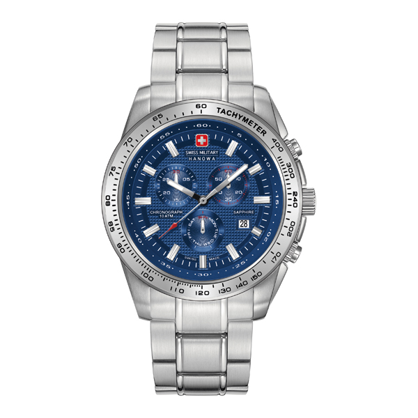 Swiss Military by Hanowa Gent's Crusader Chronograph Watch with Stainless Steel Bracelet Blue