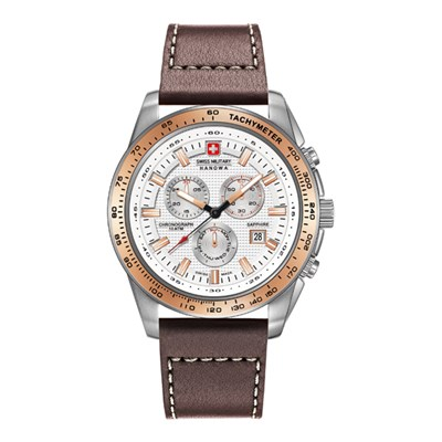 Swiss Military by Hanowa Gent's Crusader Chronograph Watch with Genuine Leather Strap