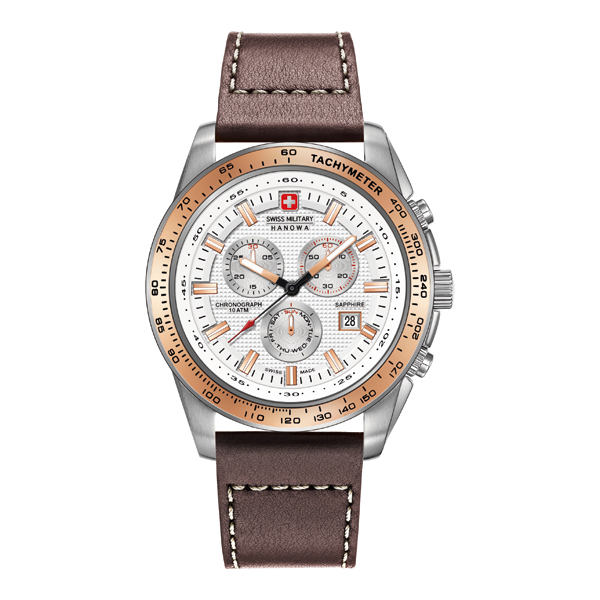 Swiss Military by Hanowa Gent's Crusader Chronograph Watch with Genuine Leather Strap Brown
