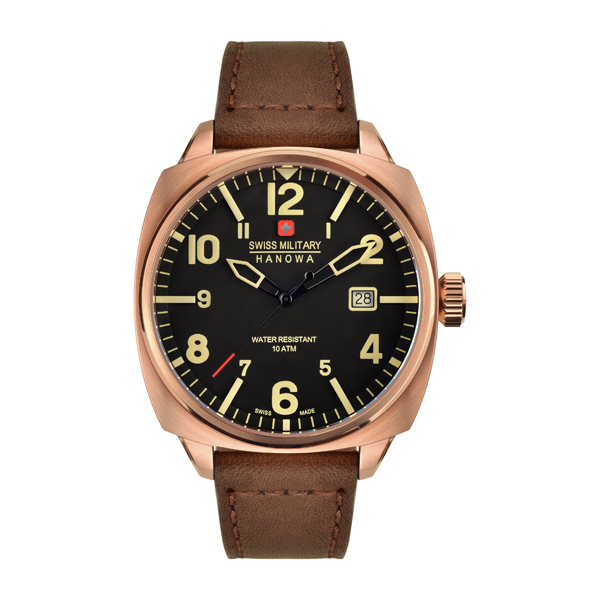Swiss Military by Hanowa Gent's IP Aeronautica Watch with Genuine Leather Strap Rose Gold