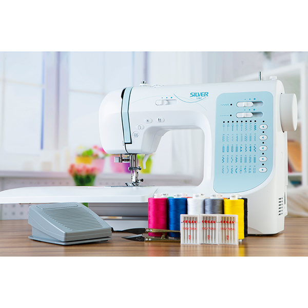 Silver 1080 Sewing Machine Bundle with Thread, Needles, Extension Table and Thread Cutters No Colour