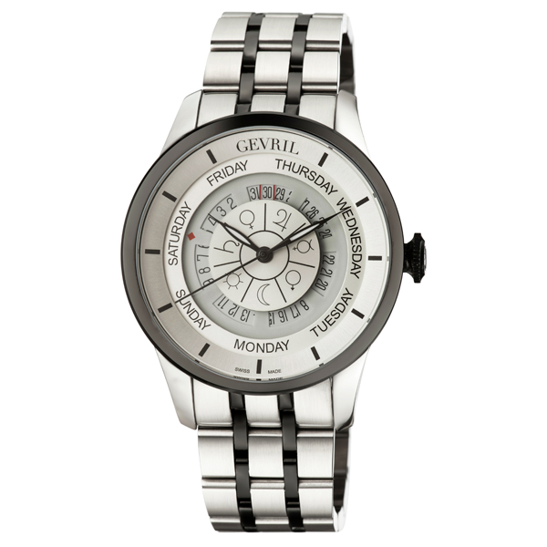 Gevril Gent's Columbus Circle Ltd Edt Swiss Automatic ETA 2834 Movement Watch With Stainless Steel Bracelet Black/Silver