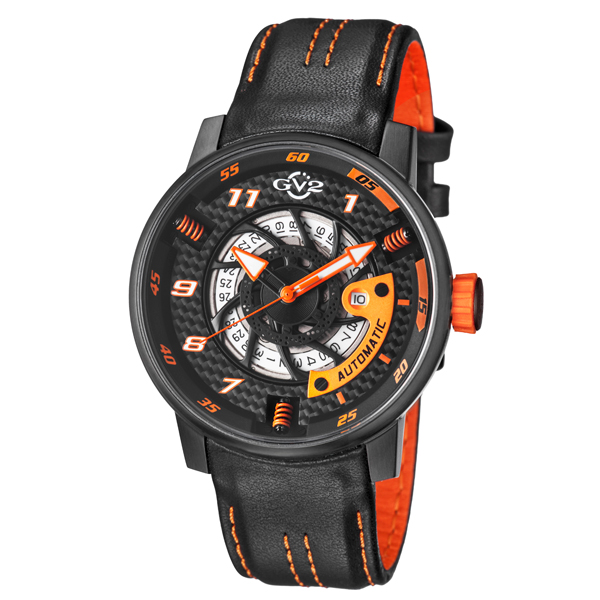 GV2 Gent's Motor Cycle Sport Ltd Edt Swiss Automatic Ruben & Sons Movement Watch with Genuine Leather Strap & Pen Black