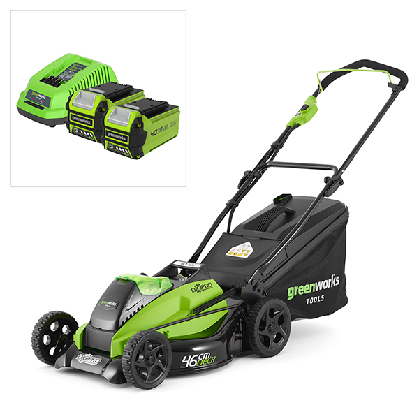 Greenworks 40V Digipro 46cm Metal Deck Lawnmower with 2Ah Batteries & Charger No Colour