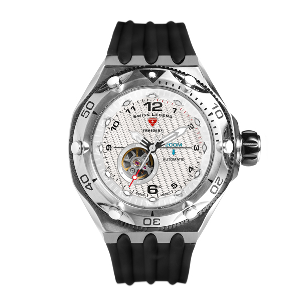 Swiss Legend Gent's Traident Automatic Watch with Silicone Strap Black/Silver
