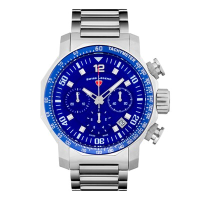 Swiss Legend Gent's Blue Geneve Watch with Stainless Steel Bracelet