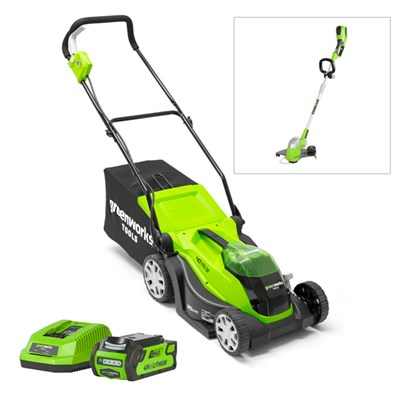 Greenworks 35cm Lawnmower 1 x2.0ah Battery & FREE Line Trimmer LT30