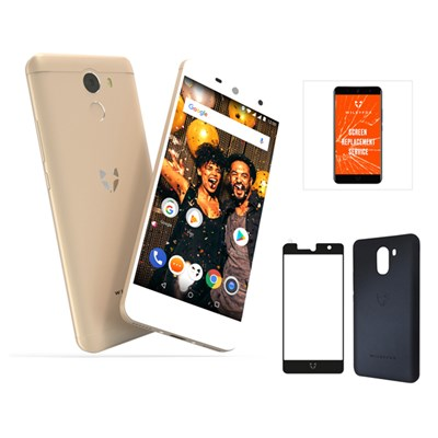 Wileyfox Swift 2X 4G Smartphone, 5.2 Inch HD Curved Gorilla Glass Screen Plus Screen Replacement Guarantee, Tempered Glass & Velvet Hard Case
