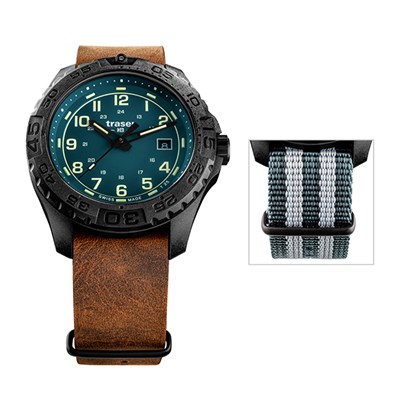 Traser Gent's Swiss Made P96 Evolution, PVD Case with Genuine Leather Strap and Nato Strap
