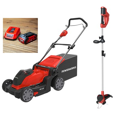 Powerworks 40V Cordless Lawnmower 41cm with 1 x 2Ah Battery & Charger plus FREE Powerworks Line Trimmer