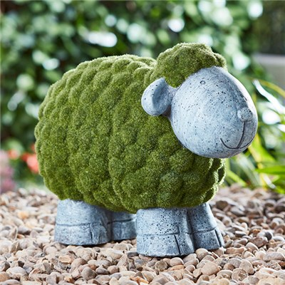 Flocked Effect Sheep Garden Ornament