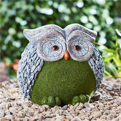 Flocked Effect Owl Garden Ornament