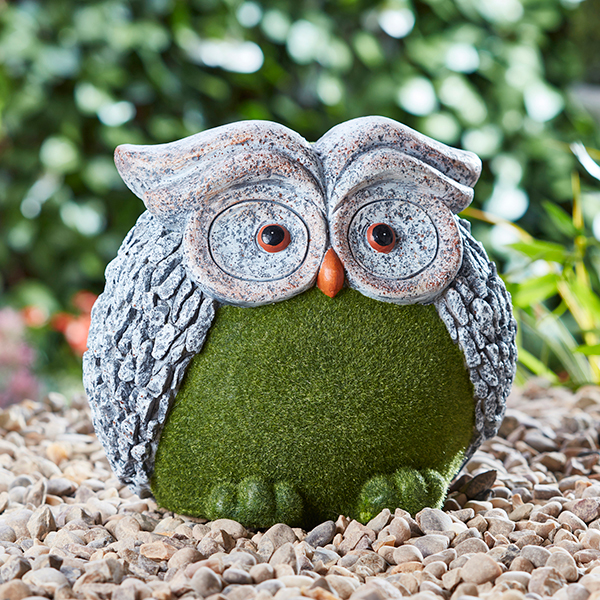 Flocked Effect Owl Garden Ornament No Colour