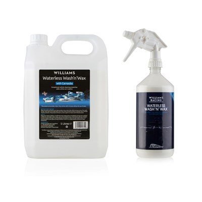 Williams Racing Waterless Wash & Wax 5 Litre Refill Jerry Can with 1L Spray Bottle