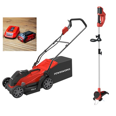 Powerworks 40V Cordless Lawnmower 35cm with 1 x 2Ah Battery & Charger plus FREE Powerworks Line Trimmer