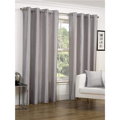 Faux Silk Lined Eyelet Curtains - 90-inches