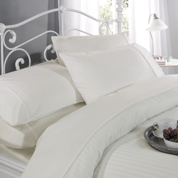 Dorchester Ritz T300 Satin Stripe Duvet Set (Double) Cream