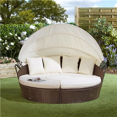 Brown Rattan Day Bed 210cm with Table