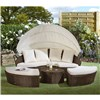Rattan Day Bed 210cm With Table - Brown