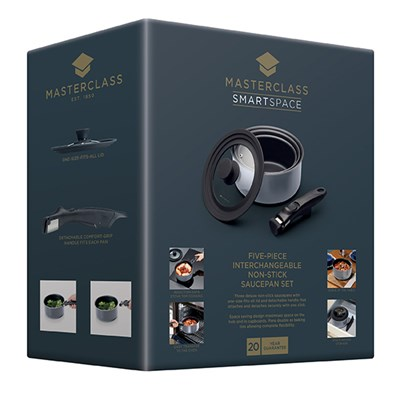MasterClass 5 Piece Black Aluminium Non-Stick Saucepan Set with Removable Handle and Universal Lid
