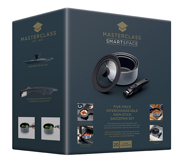 MasterClass 5 Piece Black Aluminium Non-Stick Saucepan Set with Removable Handle and Universal Lid No Colour
