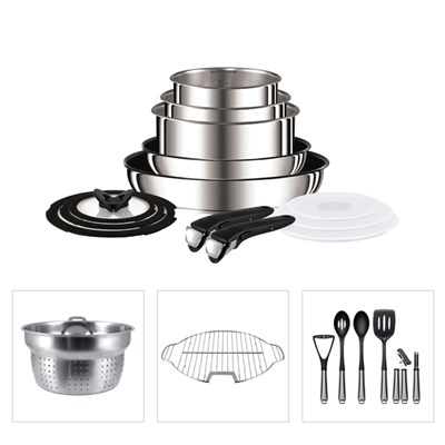 Tefal Ingenio 13 Piece Stainless Steel Pan Set with Pasta Insert, Grill Insert and 6 Piece Nylon Utensil Set
