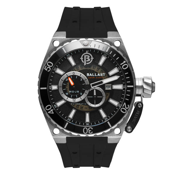 Ballast Gent's Valiant Regulator Automatic Watch with Silicone Strap Black/Silver