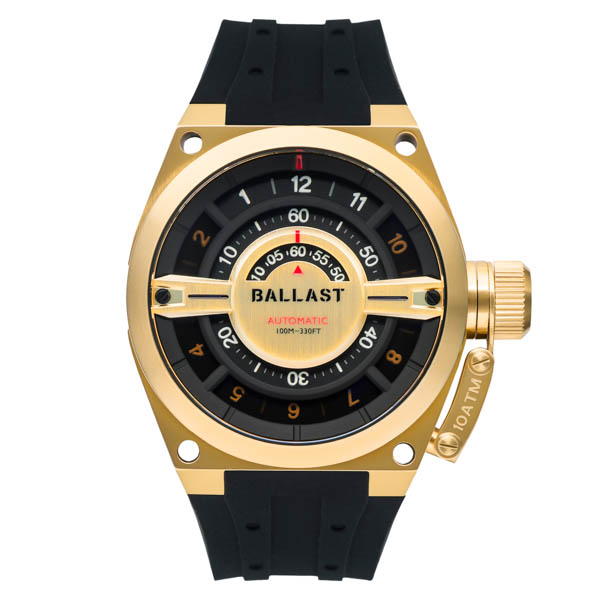 Ballast Gent's Valiant Gauge Automatic Watch with Silicone Strap Gold