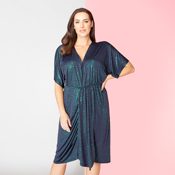Kasara Sparkle Kimono Dress Navy/Emerald