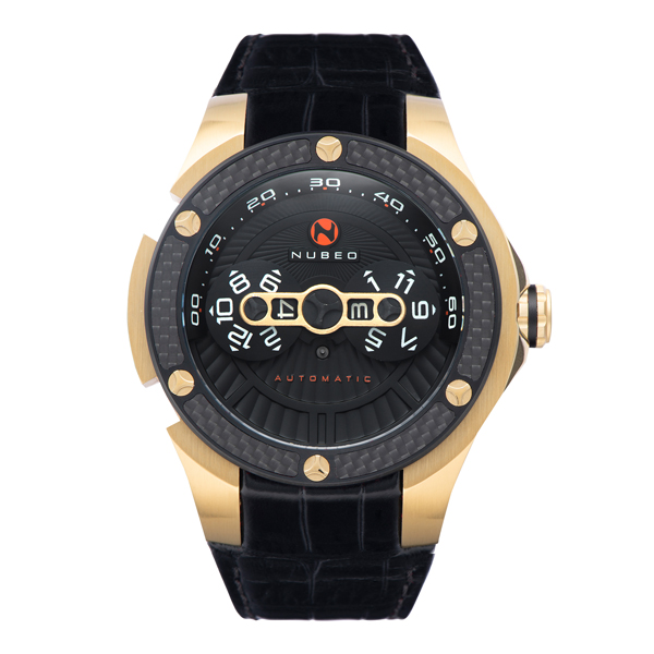 Nubeo Gent's Satellite Swiss Sellita Automatic IP Watch with Genuine Leather Strap Black/Gold