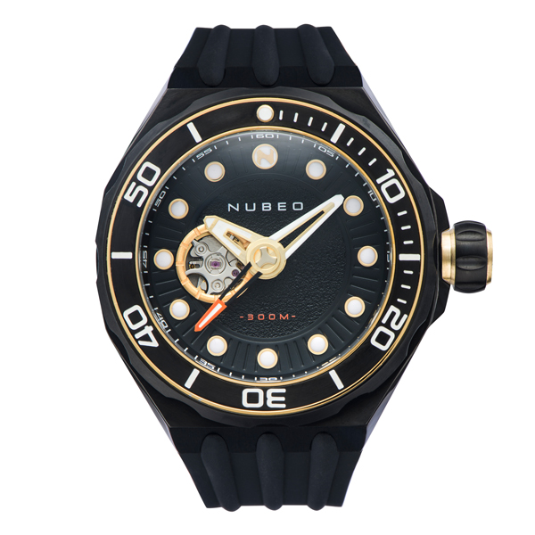 Nubeo Gent's Mariana Automatic Watch with Silicone Strap Black